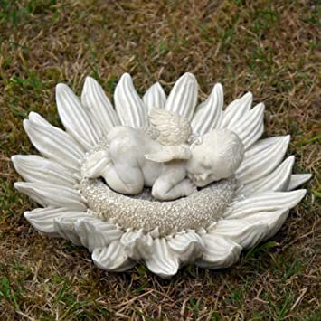 Baby Angel Cherub Sleeping On Sunflower   Unusual Garden Ornament / Indoor  Statue