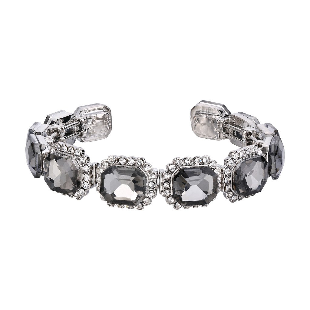 BriLove Women's Wedding Bridal Bangle Bracelet Multi Emerald Cut Crystal Open Stretch Bracelet Grey Black Silver-Tone