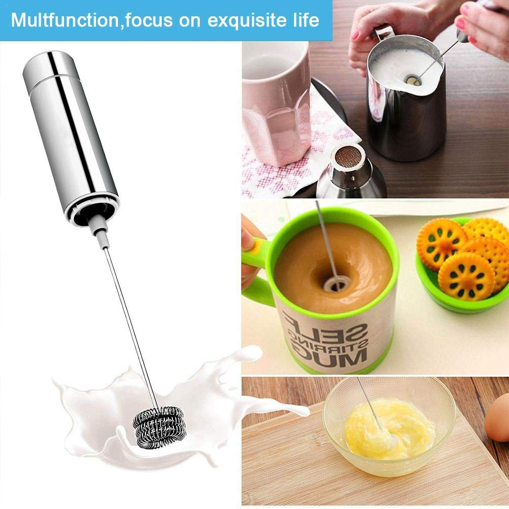Ingeniously Electric Milk Frother Portable Stainless Steel Coffee Milk Mixer Egg Blender Agitator