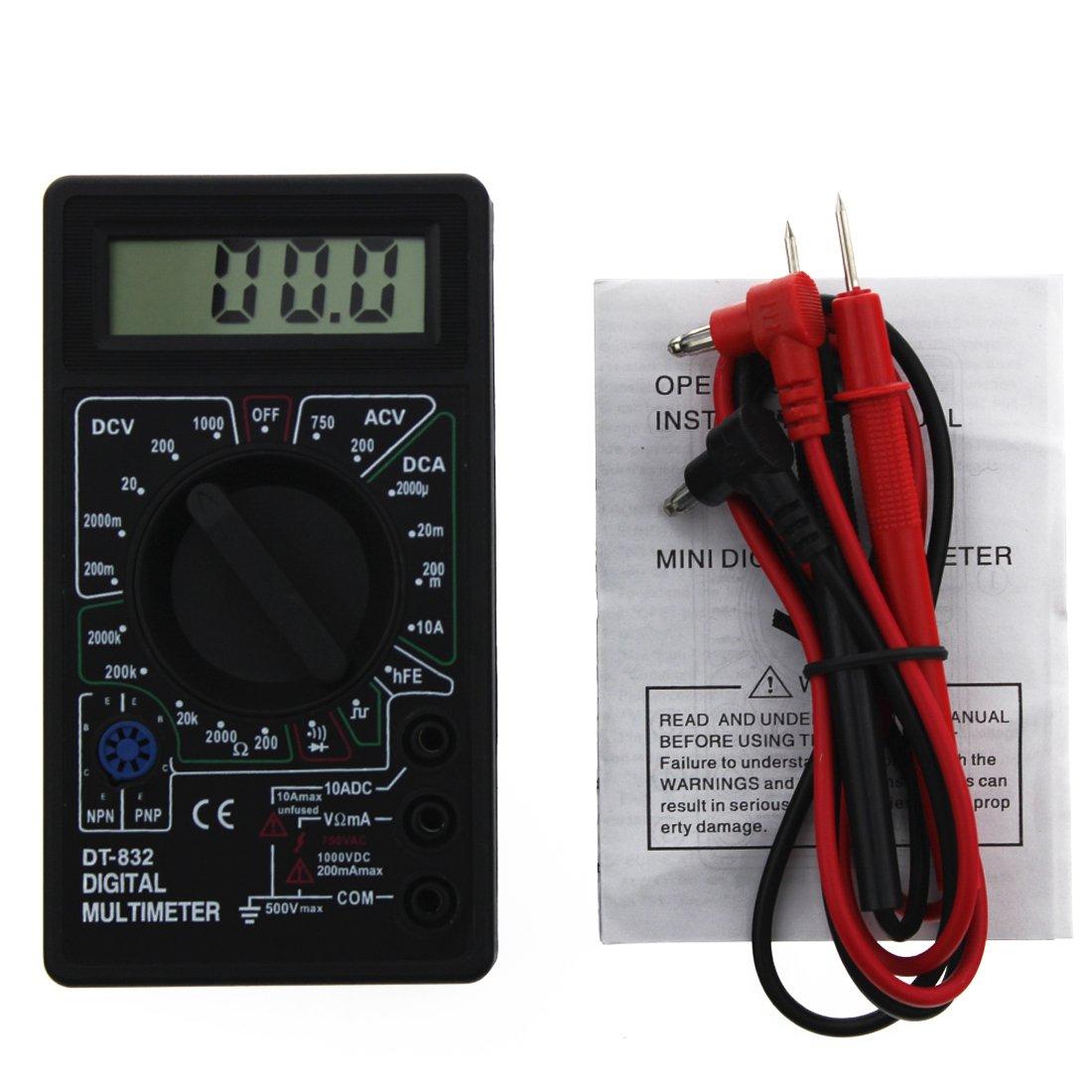 DT-832 Mini Type Multifunctional Handheld Digital Multimeter Black Rongwen TRTA11A