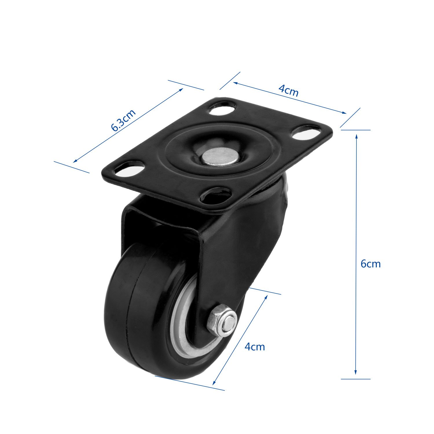 ULIFESTAR 4 PCS 1.5 inch Heavy Duty Caster Wheels Polyurethane PU Rubber Swivel Casters with Top Plate & Strong Bearing Total 400lb Quite Mute Non-Marking Locking Stem Casters Black (1.5'') by Ulifestar (Image #3)