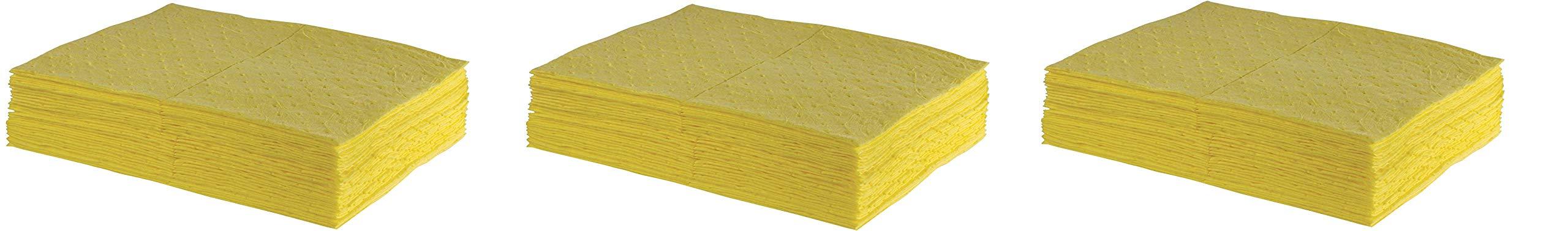 ESP 2MBYPB Polypropylene Medium Weight Meltblown Absorbent Sonic Bonded Hazmat Pad, 20 Gallons Oil and 13 Gallons Water Absorbency, 18'' Length X 15'' Width, Yellow (100 per Bale) (3 X 100 per Bale)