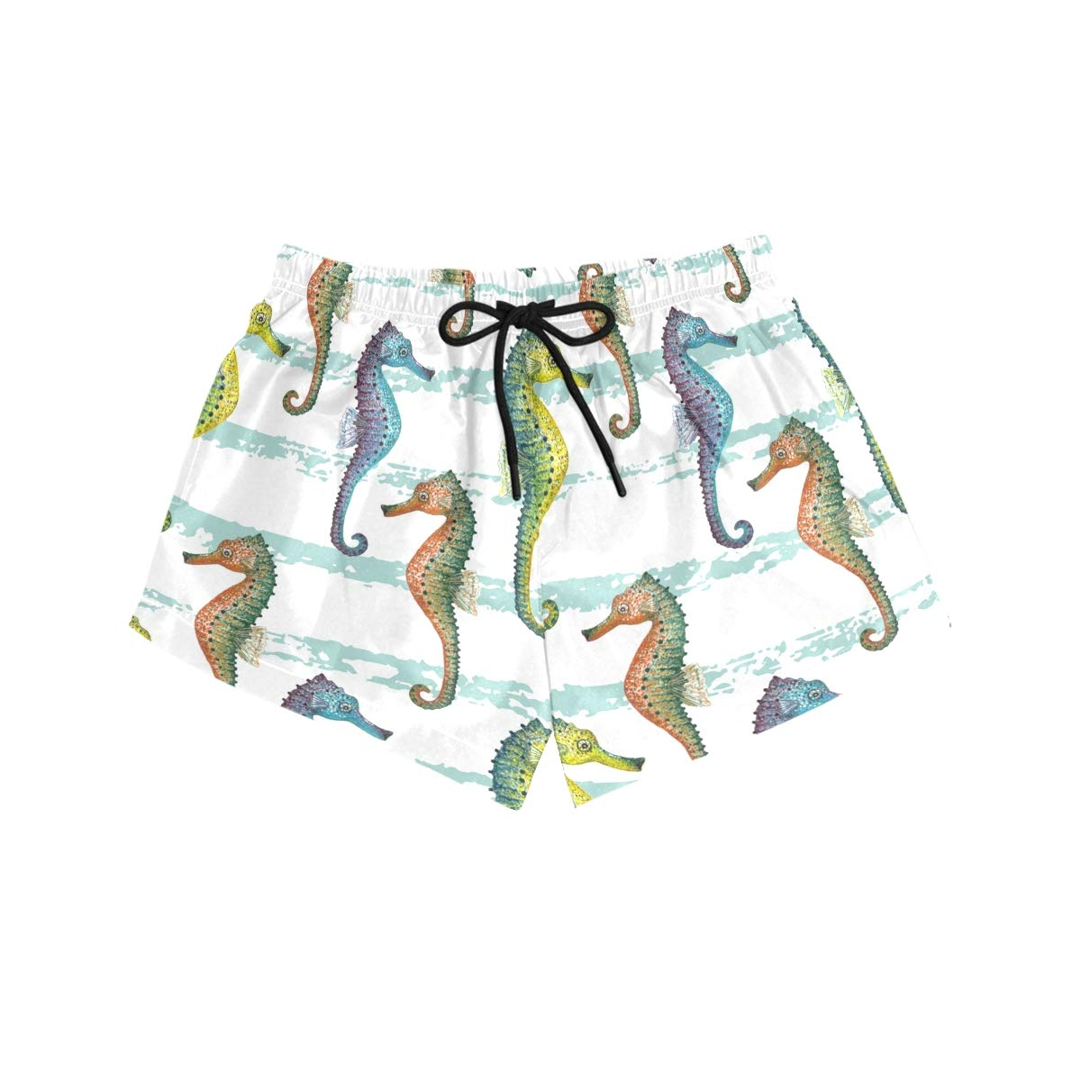 Women Swim Trunks Hand Painted Colorful Sea Horse Pattern Beach Board Shorts