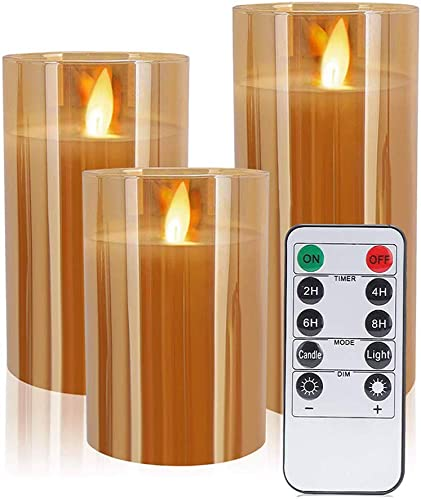 Flameless Candles,Gold Glass LED Candle Include Flickering Realistic LED Flames with Remote Control Timer,4 5 6Inch,Set of 3