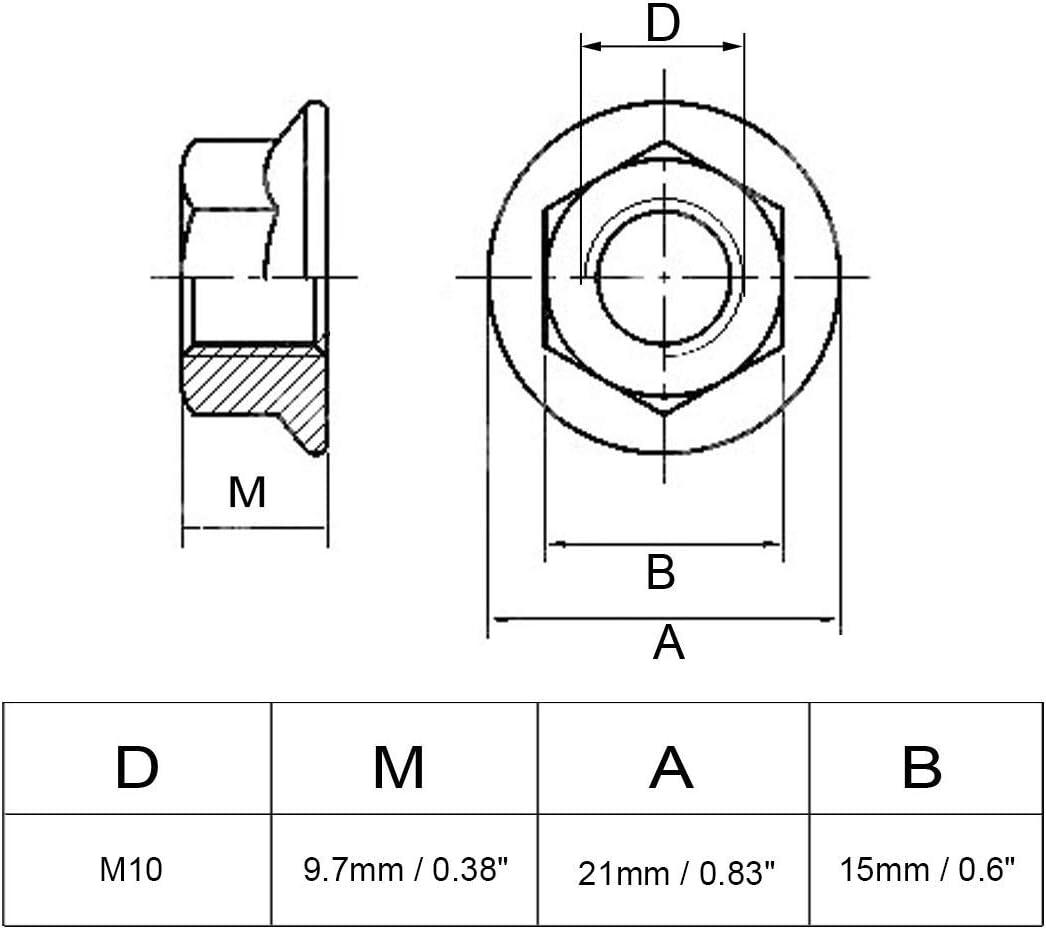 M10 Cyful Zinc Plated Metric Serrated Flange Hex Lock Nuts Self-locking Nut 50 Pcs