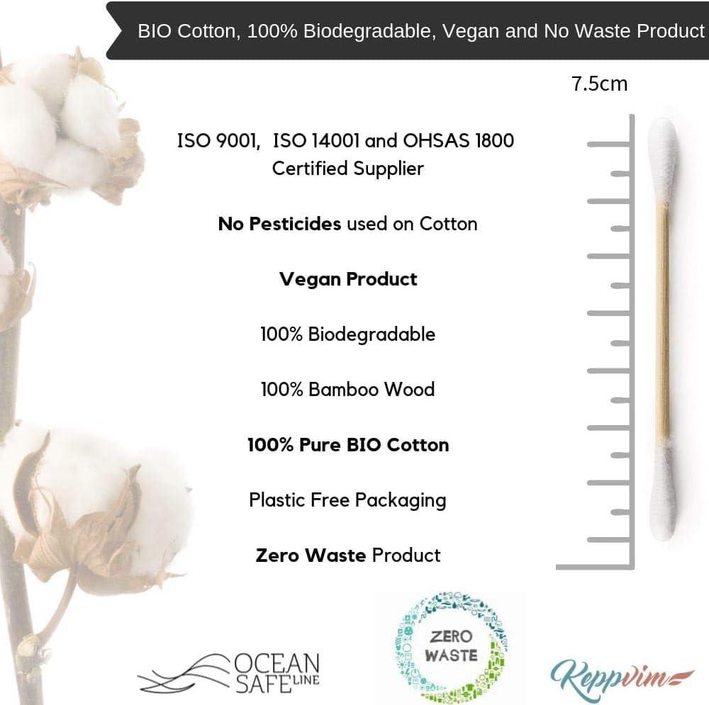 Bastoncillos Ecológicos, Bio algodón y Bambú, Biodegradables 1000 ...