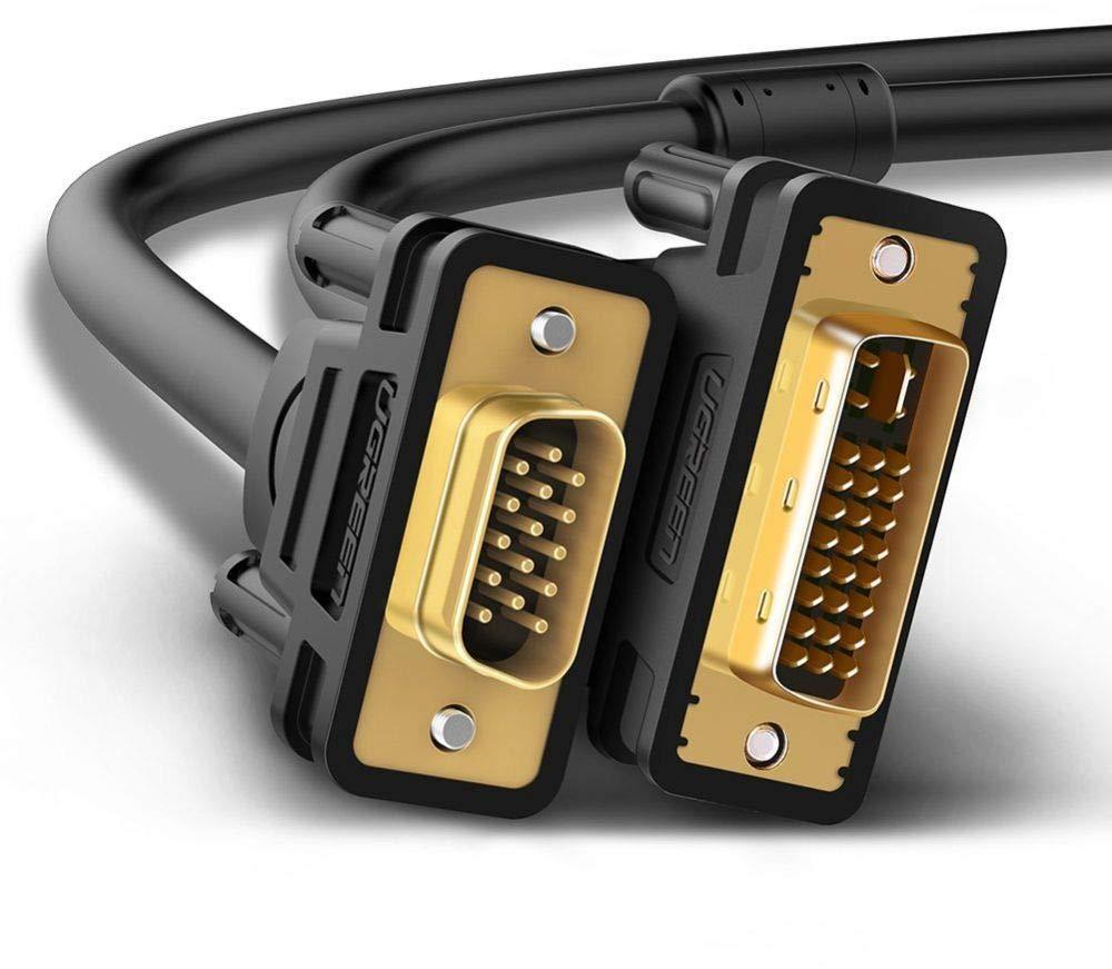 UGREEN Cable DVI-I 24+5 a VGA 1,5 Metro, Cable DVI a VGA Dual Link Macho a Macho 1080P Compatible con HDTV, Tarjeta Grafica, DVD, portátiles y Proyectores, ect.