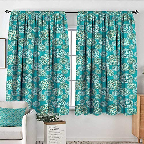 (PriceTextile Teal,Nursery/Baby Care Curtains Daisy Gerbera Carnations Art 52