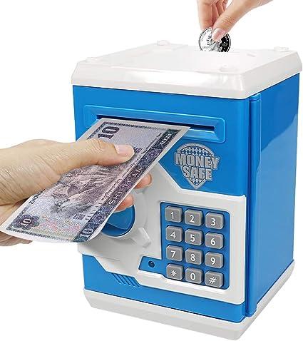 Blue fangyiju Kids Cartoon ATM Money Save Piggy Bank,Electric Money Password Music Safe Deposit,Childrens Gift