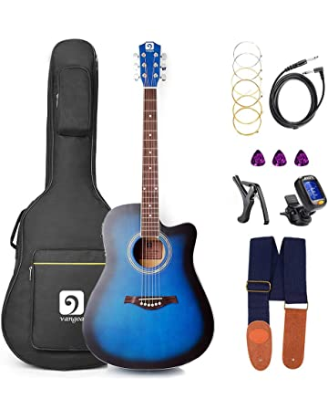 Electric Acoustic Guitar, Acoustic Guitar Cutaway 41 Inch Full Size Folk Guitar Beginner Kit,