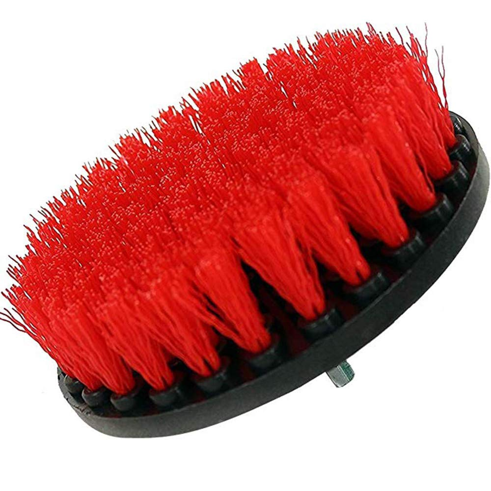 JDgoods 5 Inch Soft, Medium and Stiff Power Scrubbing Brush Drill Attachment for Cleaning Showers, Tubs, Bathrooms, Tile, Grout, Carpet, Tires, Boats (Red)