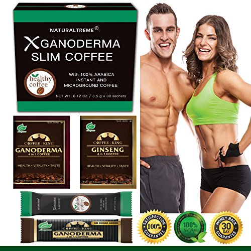 PureGano Ganoderma Slimming Weight Loss & Detox Coffee - 100% Natural Arabica Black Instant Coffee - Appetite Suppressant, Fat Burner & Metabolism Booster - 30 Day Supply + 4 Bonus Samples by Naturaltreme