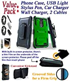 Value Pack Cables + for 5.5'' ZTE Blade Spark bladespark case Phone Case 360° Cover Screen Protector Clip Holster Kick Stand Shock Bumper (Green Black)