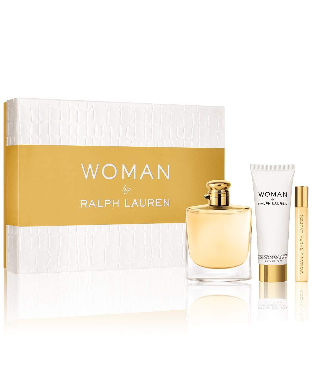 61975e251 Amazon.com   Woman By Ralph Lauren Gift Set (Perfume 3.4oz 100ml + Body  Lotion 2.5 oz 75ml + Roller Perfume .35oz 10ml)   Beauty