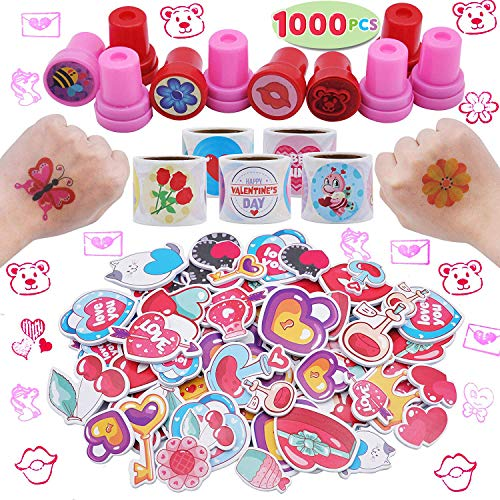 JOYIN 1000+ Valentine Day Hearts Arts and Crafts Party Favor Supplies Accessories (Stickers, Tattoos, Stampers) for Valentine