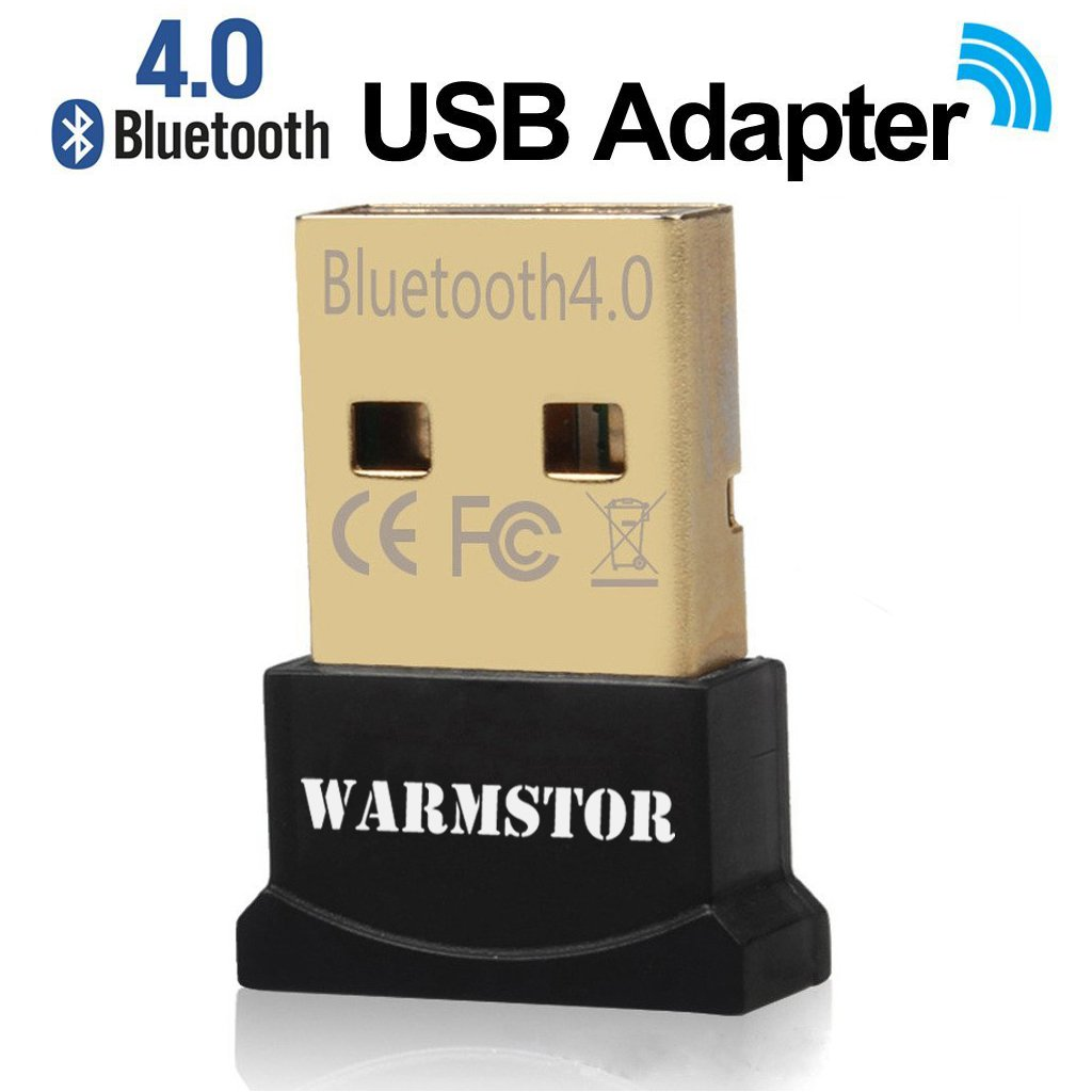 Warmstor Bluetooth Adapter, CSR 4 0 USB Dongle Bluetooth Receiver/Transfer  Gold Plated for Laptop PC Computer Support Windows 10 8 7 Vista XP 32/64