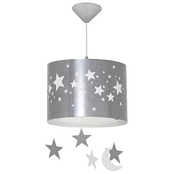 Hangeleuchte Kinderzimmer Innenlampe Grau Weiss Sterne O31