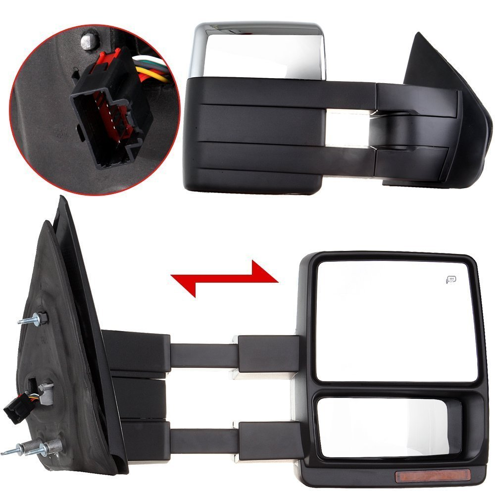 Towing Mirrors, fit Ford SCITOO Exterior Accessories Mirrors fit 2004-2014 Ford F150 Truck with Turn Signal Puddle Lamp Power Adjusted Heated Manual Telescoping and Folding Features Scitoo Towing Mirrors