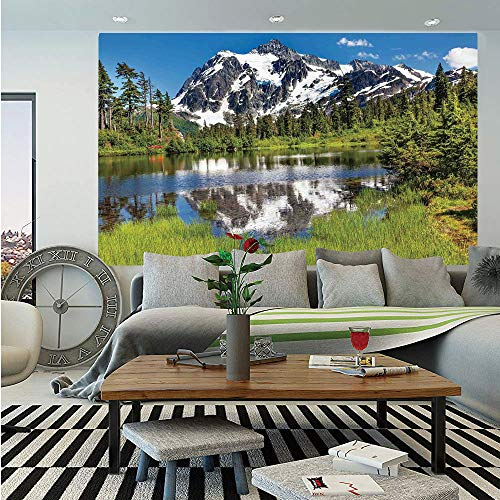 (SoSung Lake House Decor Removable Wall Mural,Picture of Lake Evergreens Mount Shuksan Highway Washington Pacific Northwest USA,Self-Adhesive Large Wallpaper for Home Decor 66x96 inches,Green Blue)