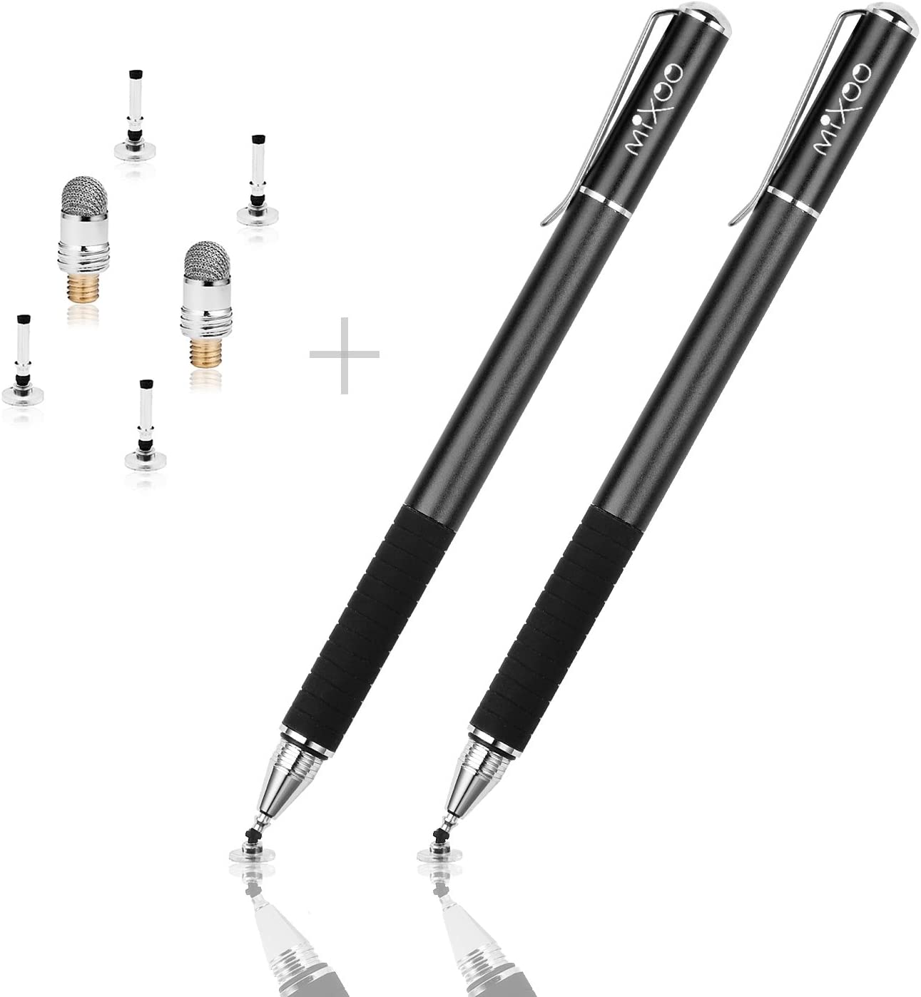 Mixoo 2-in-1 Precision Disc & Fiber Stylus with Replaceable Tips for Capacitive Touch Screen Devices (Black/Black)