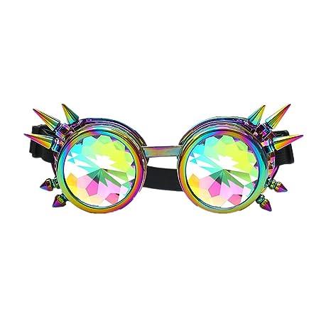 Bluestercool Lunettes de soleil, Colorées Lunettes de Kaléidoscope pour Festival et Fête (Or)