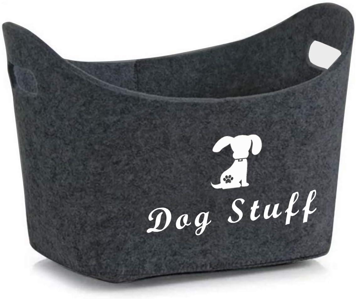 Geyecete Soft Felt Pet Toy Bin Dog Toys Storage Bins - with Handles, Pet Supplies Storage Basket/Bin Kids Toy Chest Storage Trunk (Dark Grey)