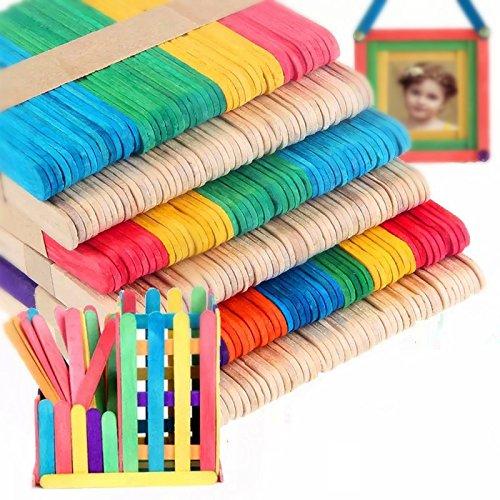 100 pcs Palos de Paletas Hielo Crema Barra Multicolor + Color de la Madera Mayitr TRTA11A
