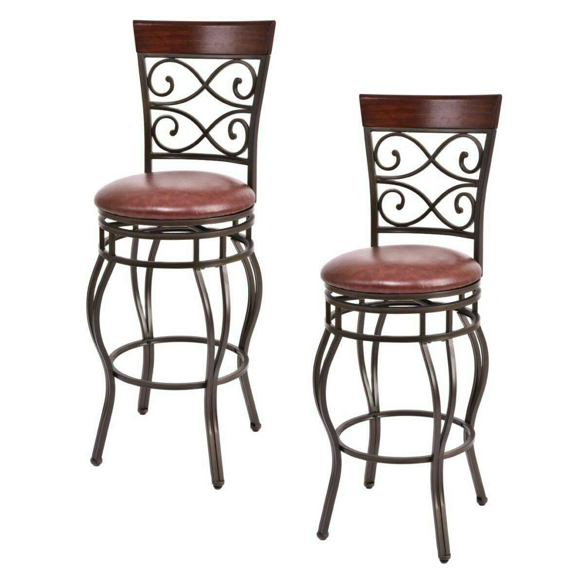 COSTWAY Bar Stools Set of 2, 360 Degree Swivel, 30'' Seat Height Bar Stools, w Leather Padded Seat Bistro Dining Kitchen Pub Metal Chairs (Set of 2) by COSTWAY