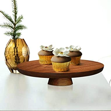 Wood Cake Stand 13.5 Inch, Cake Pedestal Stand Round, Cake Display Stand For Birthday Cake, Wedding Cake, Wood Serving Platter, Wooden Appetizer Serving Tray For Parties, Wooden Food Server (Walnut)