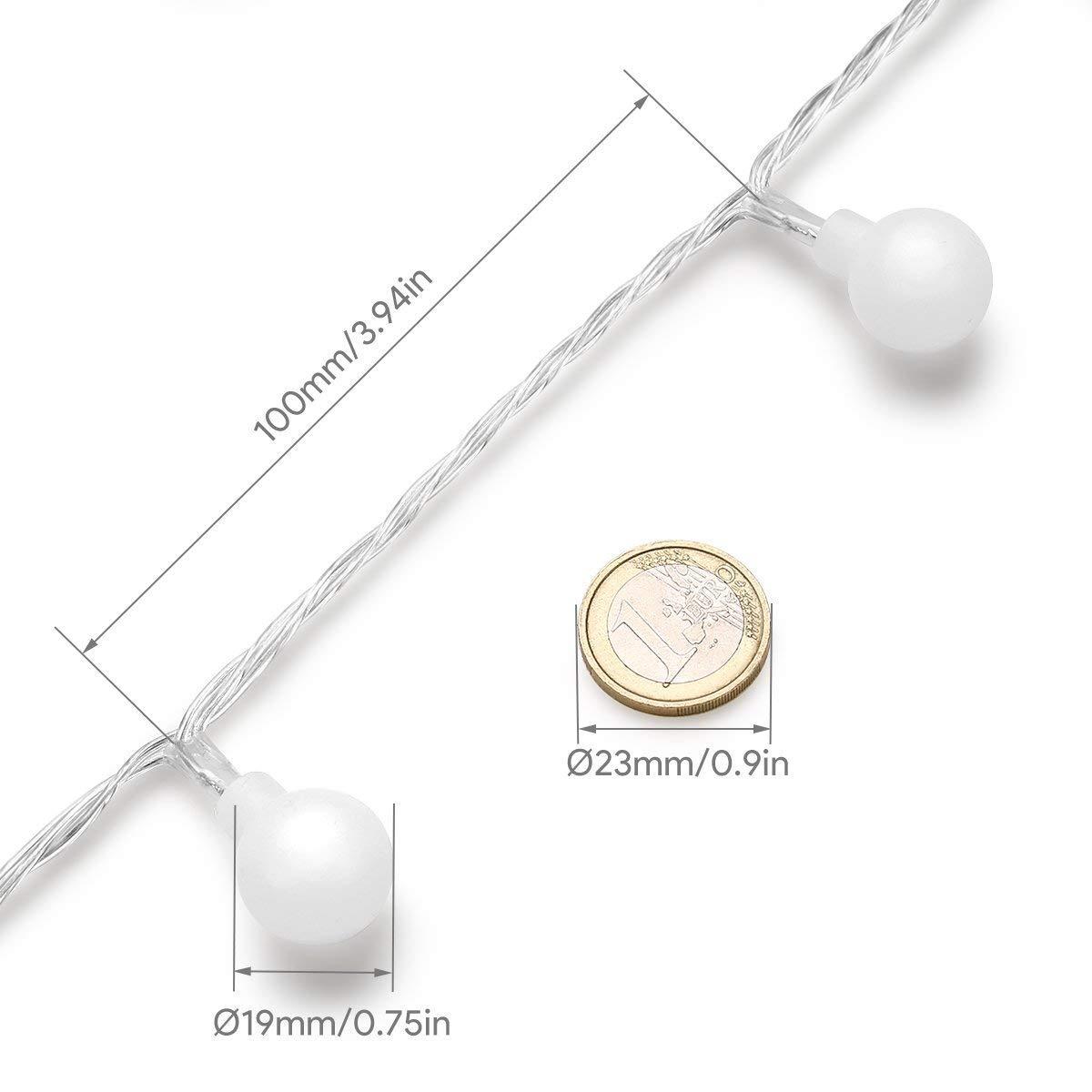 LE 50er LED Kugel Lichterkette 5m Farbig Lichterketten IP44 wassergeschützt batteriebetrieben Fernbedienung Zeitschaltuhr Merkfunktion