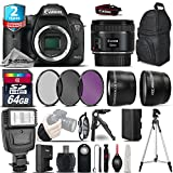 Canon EOS 7D Mark II DSLR Camera + Canon 50mm 1.8 STM Lens + Flash + 0.43X Wide Angle Lens + 2.2x Telephoto Lens + UV-CPL-FLD Filters + 64GB Class 10 Memory Card - International Version