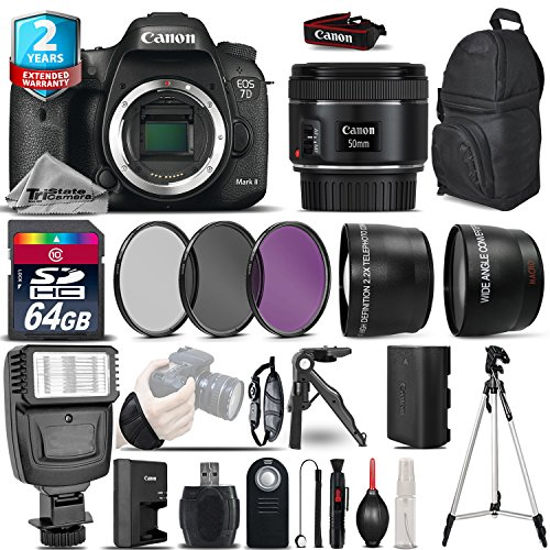 Canon EOS 7D Mark II DSLR Camera + Canon 50mm 1.8 STM Lens + Flash + 0.43X Wide Angle Lens + 2.2x Telephoto Lens + UV-CPL-FLD Filters + 64GB Class 10 Memory Card - International Version by TriStateCamera