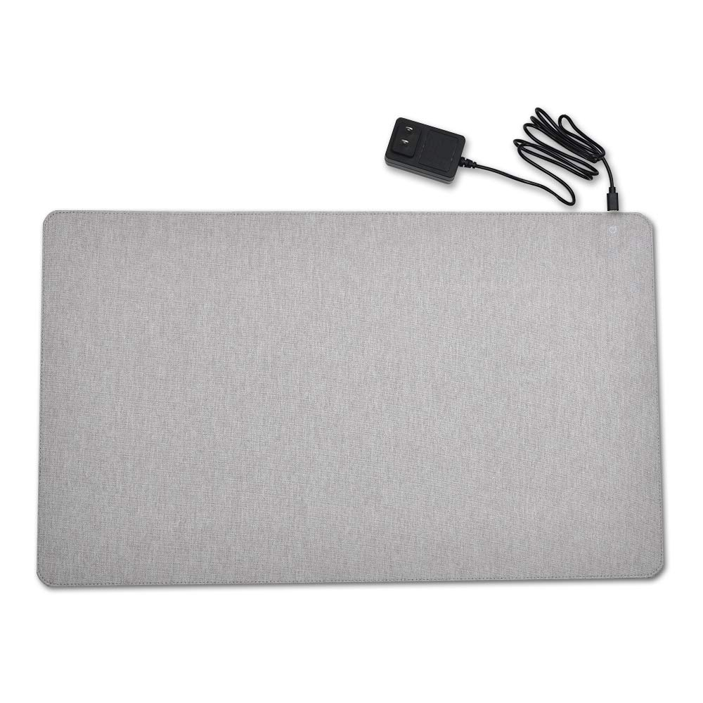 Graphene Heating Pad, Warm Desk Pad,Mat, Game Mouse Pad, Comfortable Writing Surface for Home & Office, 3 Heat-Settings, 14v Safe Voltage Automatic Control (Gray)