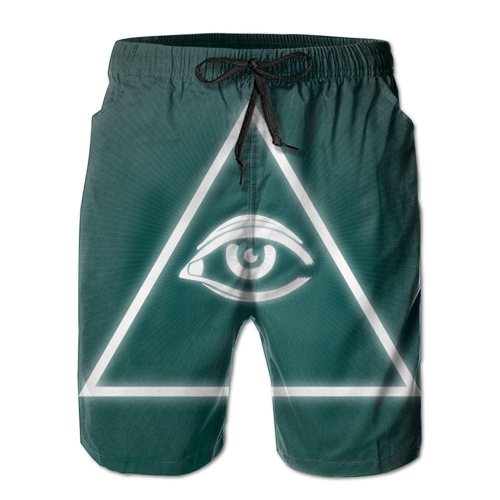 e4e0771737 White White White Mens All Knows Eyes Pattern Shorts Elastic Waist Swim  Trunks Pockets Lightweight Beach Shorts Boardshort Fathers Day 328405