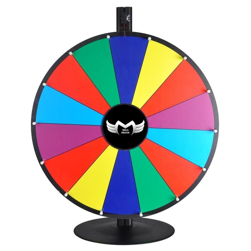MegaBrand 24'' Tabletop Color Dry Erase Spinning Prize Wheel 14 Slot
