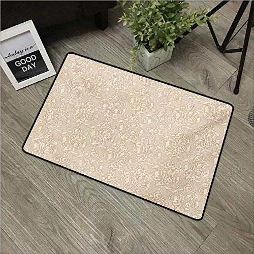 (HRoomDecor Beige,Floor mats Swirling Seed and Flower Patterns in Antique Style Oriental Motifs Nature Garden Print W 16