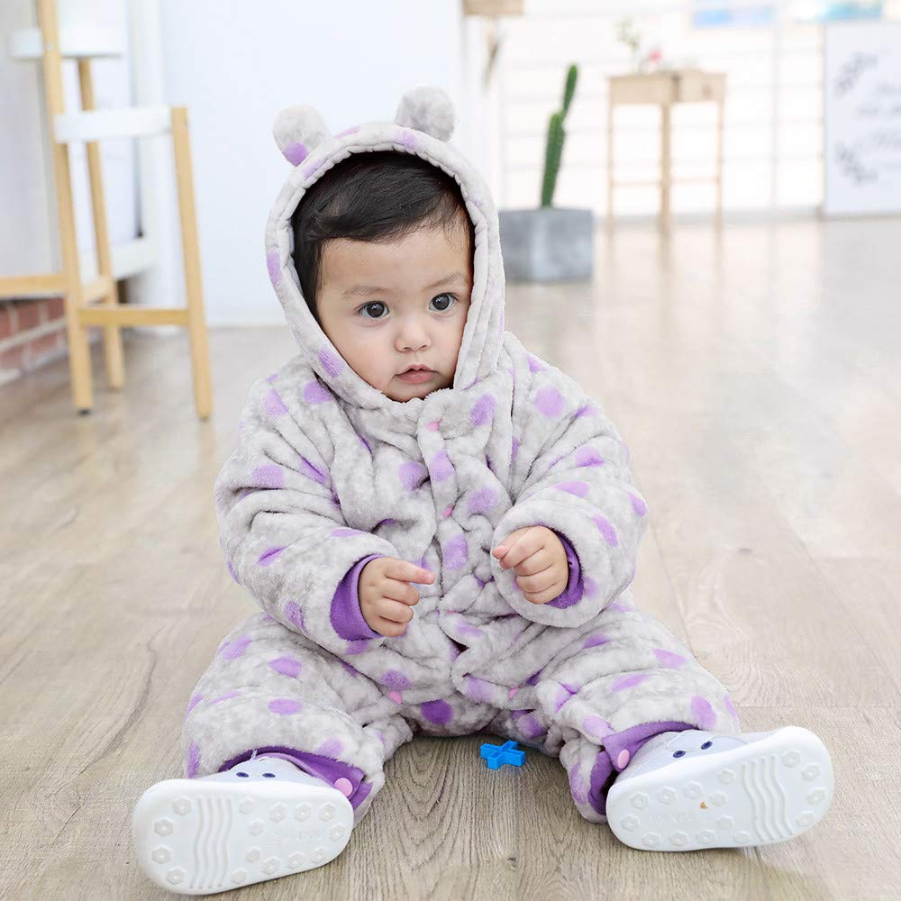 Newborn Baby Boys Girls Cute Cartoon Printed Warm Fleece Hooded Romper Jumpsuit