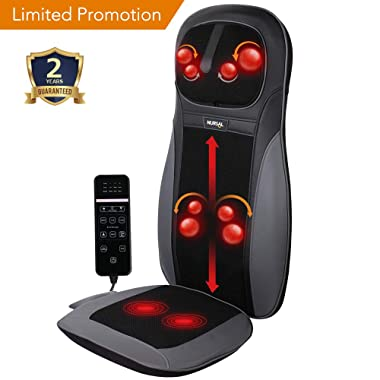 NURSAL Back Massager Shiatsu Massage Seat Cushion with Heat Function, Deep Kneading Self-Massager with Vibrations - Helps Relieve Muscle Soreness for Back and Neck