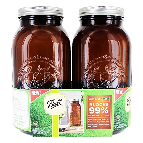 Ball(R Wide Mouth Canning Jars 2/Pkg-1/2 Gallon Elite Color Series Amber 64oz