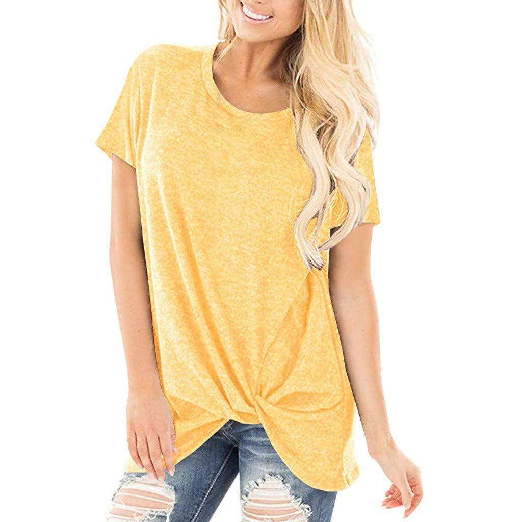 TWGONE Women Casual Solid Color Short Sleeve O Neck Blouse Twist Knotted Tops T- Shirt(X-Large,Yellow)