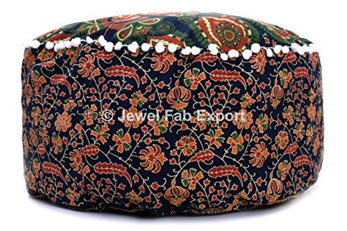 Jewel Fab Art Indian Floor Pillow Indian Cushion Cover Floor Pillow Sham Ottoman Floor Pouf 100% Cotton Pouf Cover ONLY