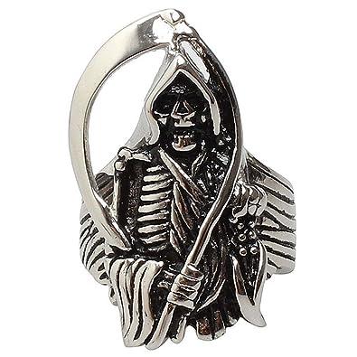Michelle Vintage Mens Stainless Steel Skull Sickle Ring Punk