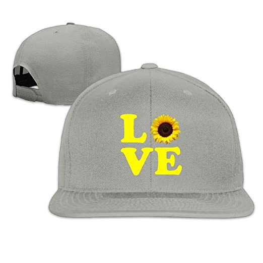 1fabc8215e91 Love Sunflower Plain Adjustable Snapback Hats Men s Women s Baseball Caps  at Amazon Men s Clothing store