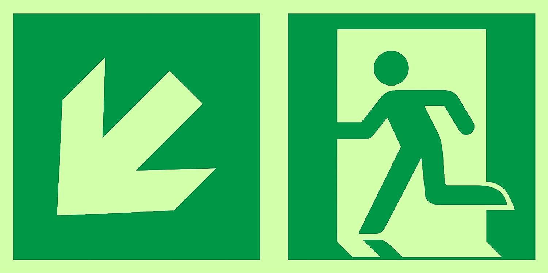 Señ ales de salida de emergencia de Anro | Flecha abajo derecha | Brillan en la oscuridad y autoadhesivos | Señ al de PVC de seguridad y advertencia | 150 x 300 mm