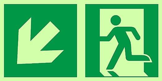 Señales de salida de emergencia de Anro | Flecha abajo izquierda | Brillan en la oscuridad y autoadhesivos | Señal de PVC de seguridad y advertencia | ...