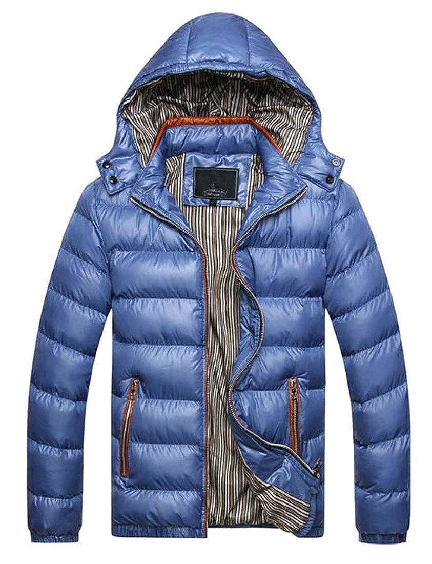 Joe Wenko Mens Slim Zip-Front Puffer Down Overcoat Winter Hooded Parka Jackets Coat