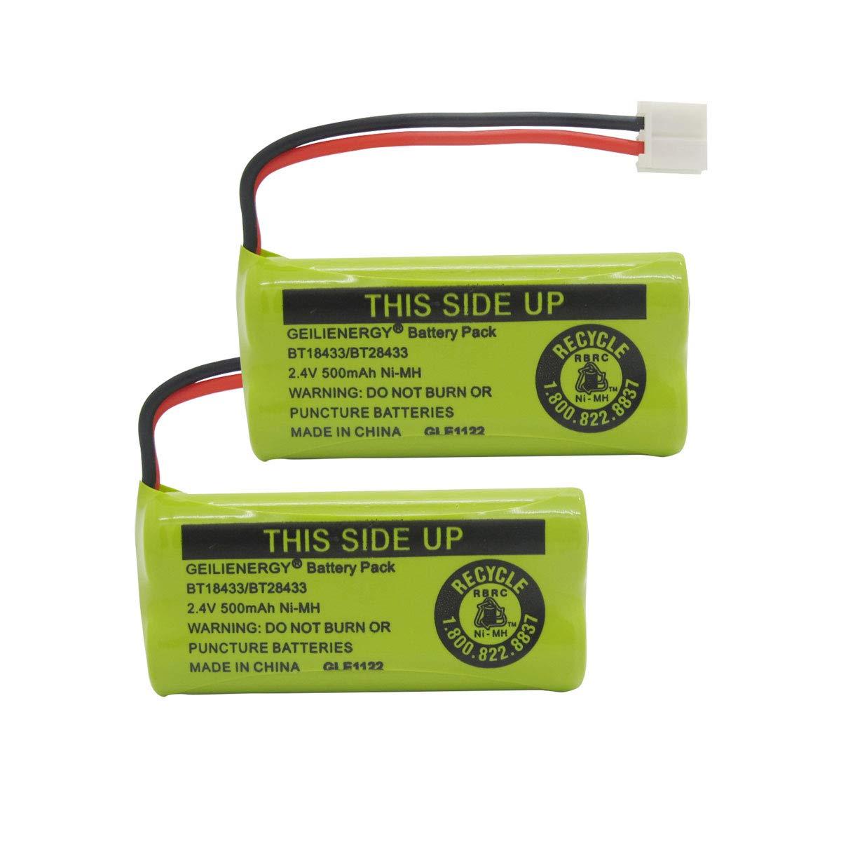 Geilienergy Rechargeable Battery Compatible with AT&T and Vtech Phones BT-8300 / BATT-6010 / BT18433 / BT184342 / BT28433 / BT284342 / 89-1326-00-00/89-1330-01-00 / CPH-515D/ bt-1011(Pack of 2)