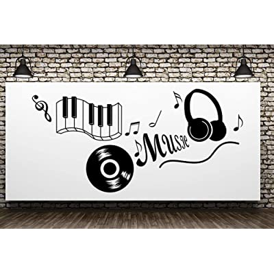 "Fymural Music Note Wall Decals - Music Quotes Wall Art Removable Vinyl Keyboard Wall Decor Sticker Poster for Livingroom Kid Baby Nursery DIY Decoration Home Decor 43.3x21.7"",Black: Arts, Crafts & Sewing"
