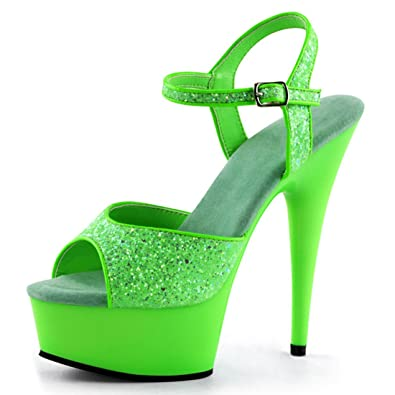 Bright And Bold Lime Green Heels With Sparkling Glitter And 6 Inch Stilettos Size 5