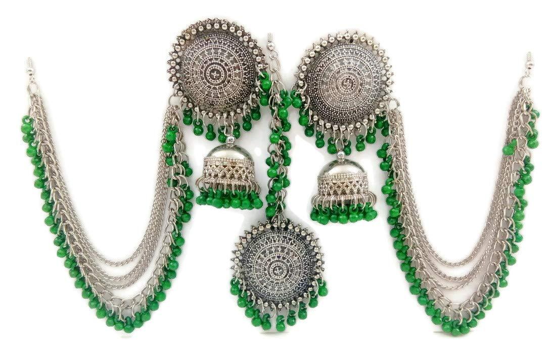 Star Trends Green Oxidised Silver Afghani Ear Chain Earrings Tikka Set for Women (B07Y41YQD4) Amazon Price History, Amazon Price Tracker